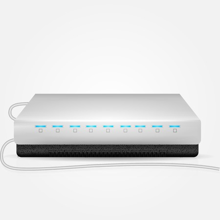 Gray modem with blue indicators and two connection wire. Isolated vector illustration on white background. Illustration