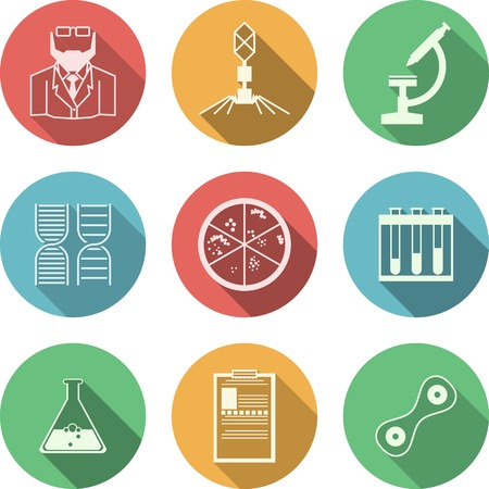 Set of colored circle vector icons with black silhouette symbols for bacteriology on white background.