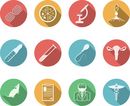 Set of colored circle vector icons with black silhouette symbols for genetics on white background. Illustration
