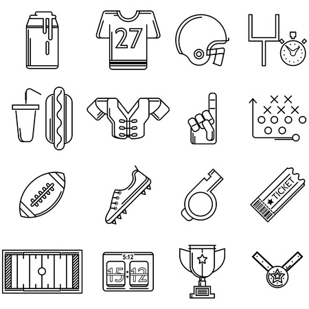 football trophy: Set of black contour vector icons with elements of American football on white background. Illustration