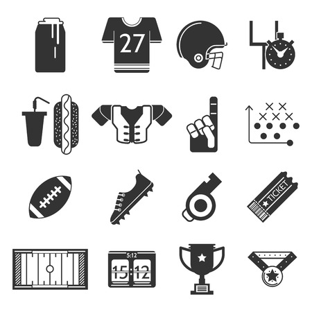 tactics: Set of black silhouette vector icons for equipment and some elements of American football on white background. Illustration