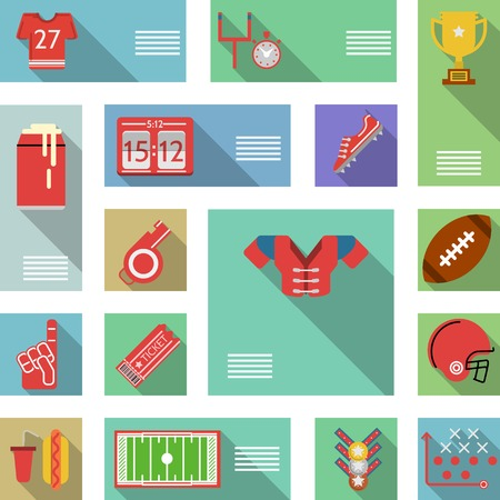 rugby player: Set of flat colored vector icons with place for your text for American football on white background.