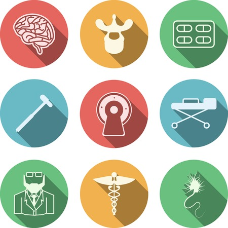 neuronal: Set of colored circle vector icons with white silhouette symbols for neurology on white background. Illustration