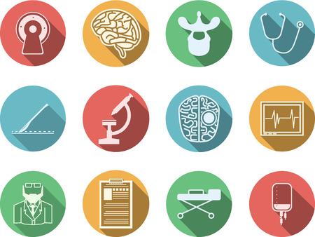 白い背景の上に脳神経外科のための白いシルエット シンボル ベクトルのアイコンを色付きの円のセットします。  イラスト・ベクター素材