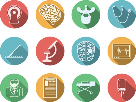 neuroscience: Set of colored circle vector icons with white silhouette symbols for neurosurgery  on white background.