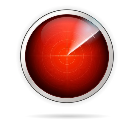 Monitoring radar with red screen. Single vector icon isolated on white background. Çizim