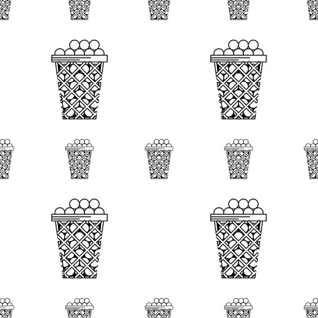 Seamless vector pattern with black contour baskets filled with balls for golf on white background.
