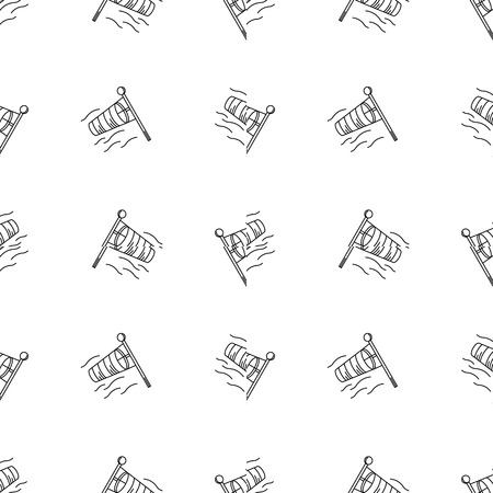 anemometer: Seamless vector pattern with black monochrome outline vanes by wind on white background Illustration