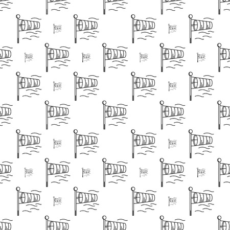 aerodrome: Seamless vector pattern with black monochrome outline vanes by wind on white background Illustration