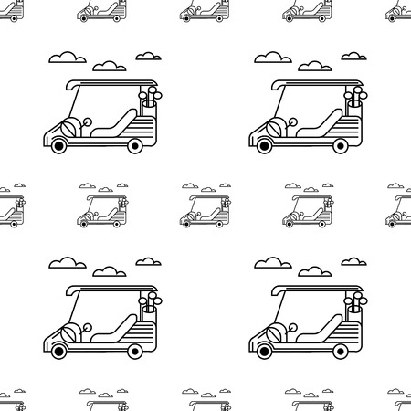 Seamless monochrome vector pattern with contour golf cars and clouds on white background. Illustration