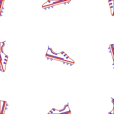football shoes: Seamless vector pattern with contour American football shoes in red and blue colors on white background.