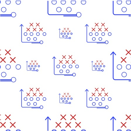 Seamless vector pattern for American football game strategy with x\'s and o\'s and arrow in red and blue colors on white background.