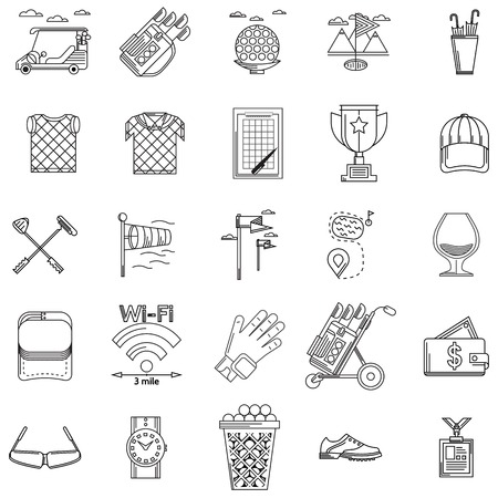 Black outline icons vector collection of elements and symbols for golf on white background. Vector