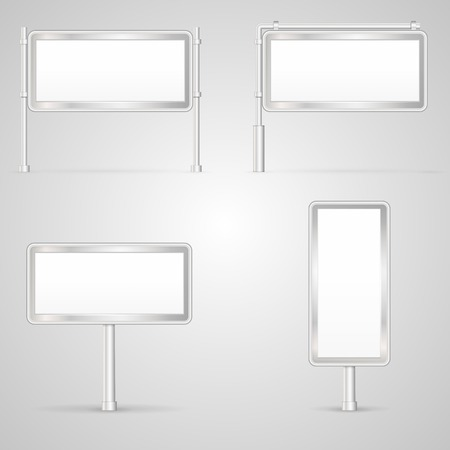 city light: Blank white with gray frame city light mock-up vector collection. Isolated illustrations on white background.