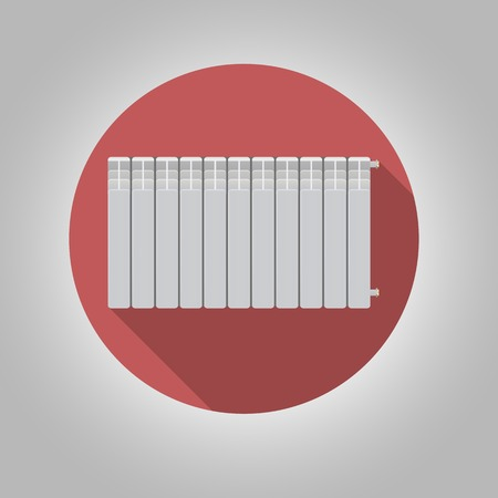 heat sink: White heating radiator on red background. Flat circle vector icon with long shadow effect on gray background. Illustration
