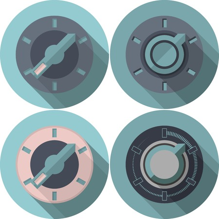 Four analogue blue tumbler switches with colored elements. Set of flat vector icons with long shadow effect on white background.