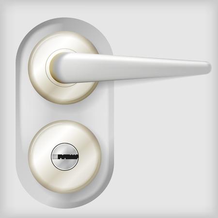 Grijze ovale deurknop met slot en cirkel elementen. Geïsoleerde vector illustratie op een grijze achtergrond.