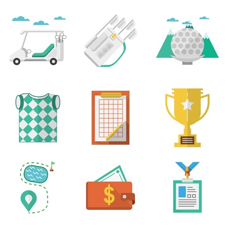 Colored flat icons vector collection of some elements for golf on white background. Vector