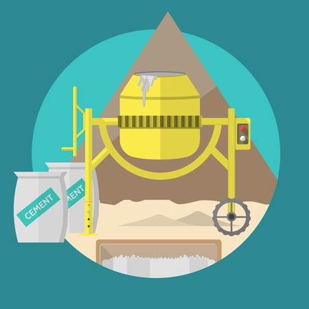 Building site with yellow concrete mixer, two gray cement bags and sand. Circle flat colored vector illustration on blue background. Vector