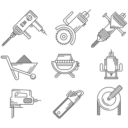 Black contour icons vector collection of tools and equipment for construction on white background. Vector