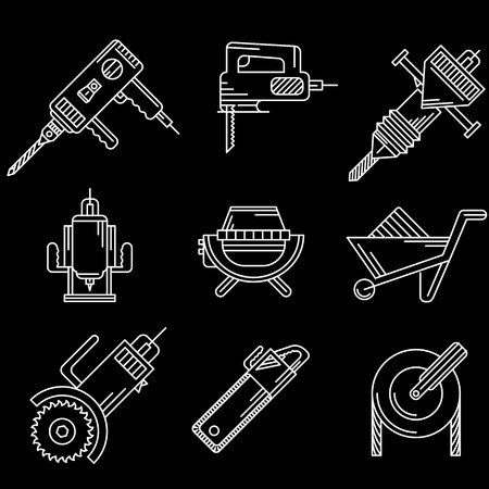 White contour icons vector collection of tools and equipment for construction on black background. Vector