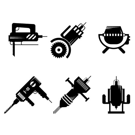Set of black silhouette vector icons for construction or repair equipment and tools on white background.