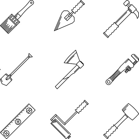 Set of black contour vector  icons for construction or repair hand tools on white background. Vector