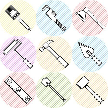 woodwork: Flat circle striped colored vector icons set with black outline elements for construction or repair woodwork and hand tools on white background.