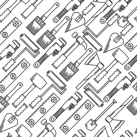Seamless vector pattern with black line woodwork hand tools on white background.