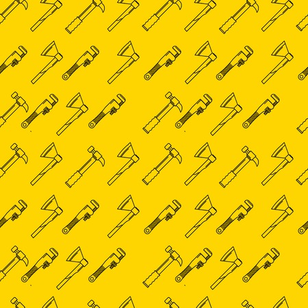 adjustable: Hammer, axe and adjustable wrench. Seamless vector pattern with black line woodwork hand tools on yellow background. Illustration