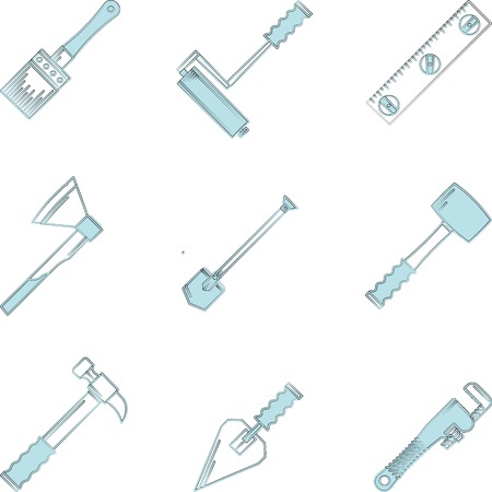 woodwork: Blue flat line icons vector collection of construction or repair woodwork instruments and hand tools on white background.