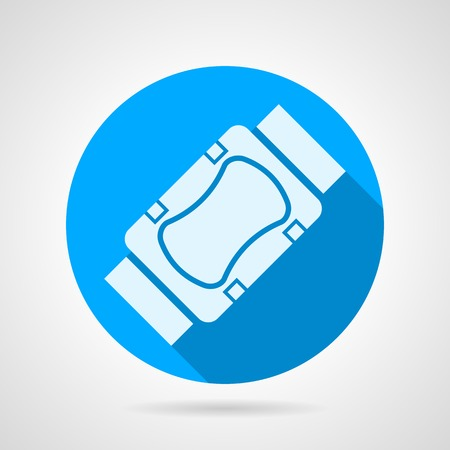 leg bandage: Blue round vector icon with white silhouette sport knee or elbow support on gray background. Flat design with shadow. Illustration