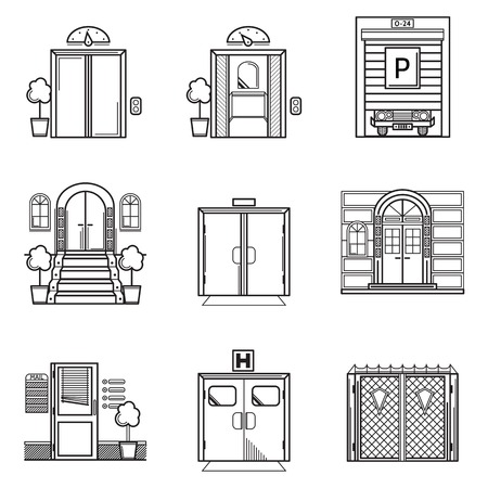 Set of black contour vector icons for different doors on white background
