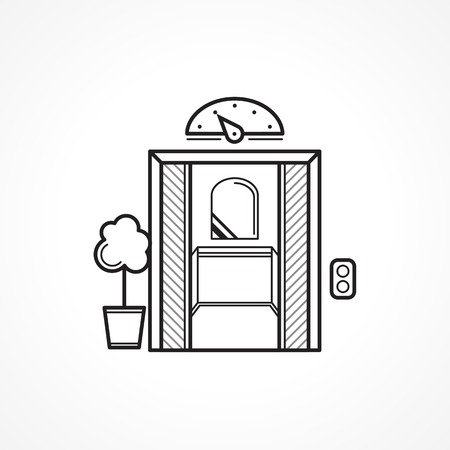 Single black contour elevator, passenger lift with opened door and mirror and with flower pot near. Vintage design vector icon on white background Vector