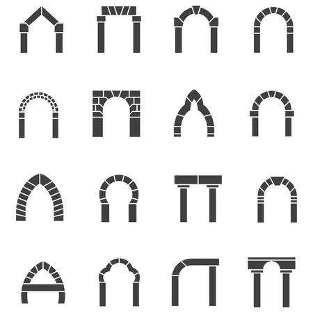 Conjunto de iconos vectoriales silueta negro para diferentes tipos de arco en el fondo blanco. Vectores