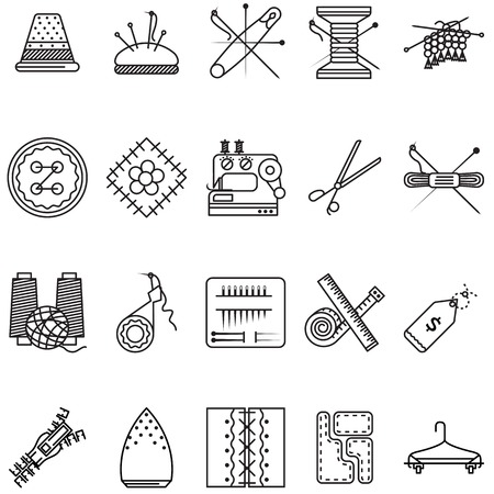 Set of black line design vector  icons for sewing tools or items for handmade on white background. Vector