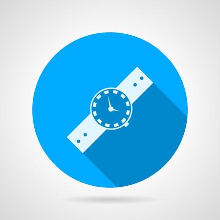 orologio da polso: Icona blu vettore rotonda con orologio bianco silhouette da polso su sfondo grigio. Design piatto con ombra.