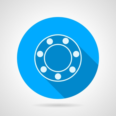 Blue round vector icon with white silhouette ball bearing on gray background. Flat design with shadow.