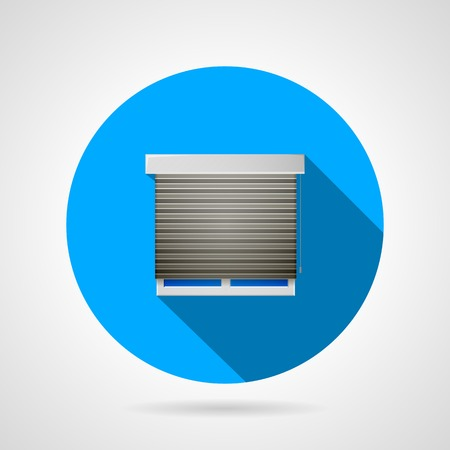 Blue round vector icon for window with gray shutters on gray background. Flat design with shadow. Vector