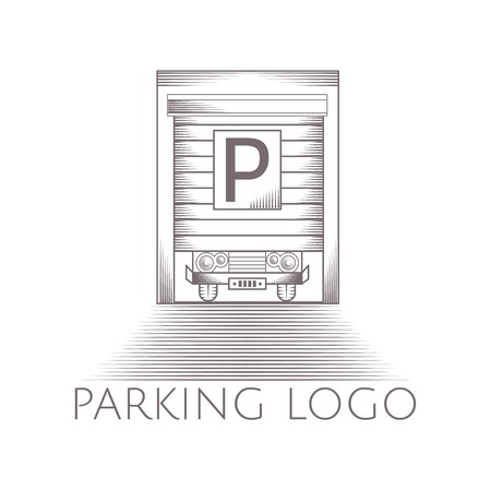 parking garage: Design element with gray garage door with parking sign vintage line style icon with sample text for some business on white background