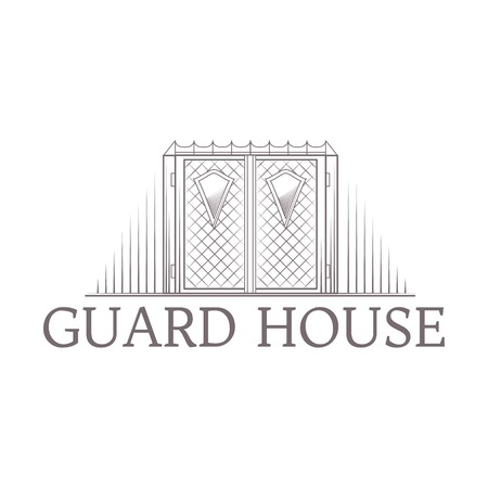 guard house: Design element with gray vintage forged iron gates line style icon with words Guard House for some business on white background