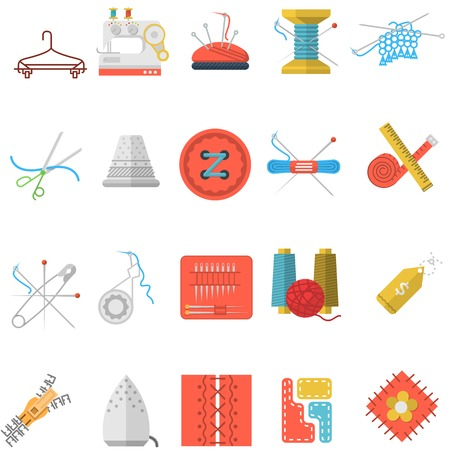 Set of colorful flat icons for sewing or handmade items and tools on white background Vector