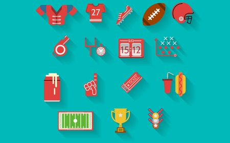 nfl: Set of colored flat icons for american football or rugby on blue background.