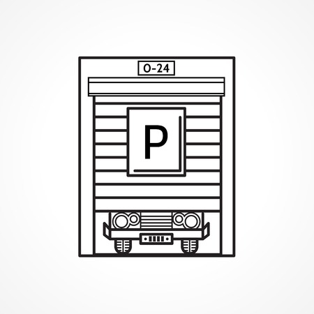 parking garage: Black line single icon for garage doors with parking sign on white background