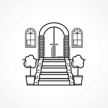 residential building: Black line single icon for arch front door with carpet stairs for some hotel or other residential building on white background Illustration