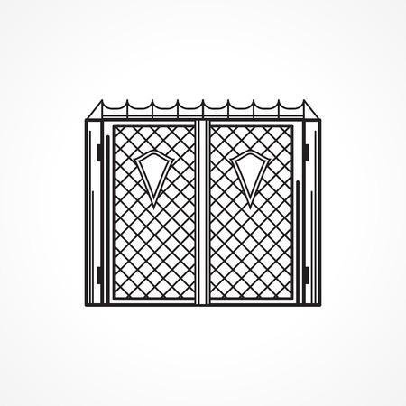 puertas de hierro: L�nea Negro icono �nico para puertas de hierro de entrada con escudos de tri�ngulo en el fondo blanco