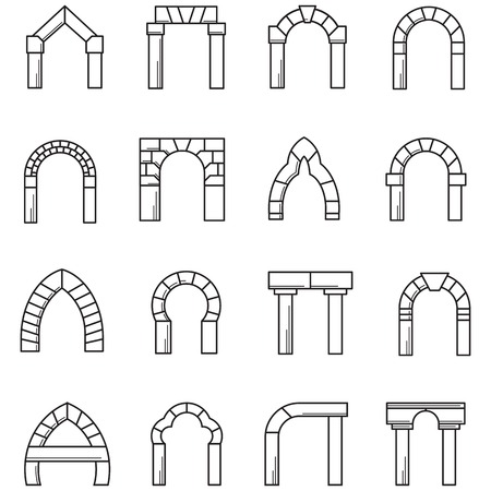 Set of black line icons for different styles brick arches on white background. Vettoriali