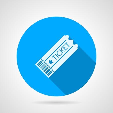 灰色の背景上の長い影と白いシルエット古いスタイルのチケットと丸い青いフラット アイコン。