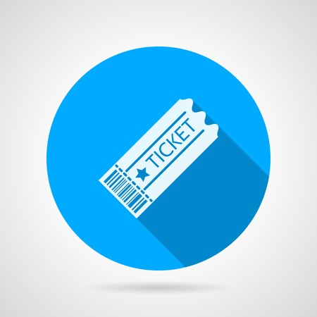 admit one ticket: Round blue flat icon with white silhouette old style ticket with long shadow on gray background.