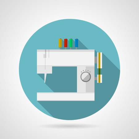 Flat blue round icon for modern gray sewing machine with colored spools of thread and with long shadow on gray background. Vector